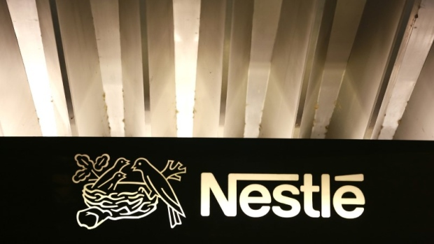 The Nestle logo is pictured on the company headquarters entrance building in Vevey, Switzerland