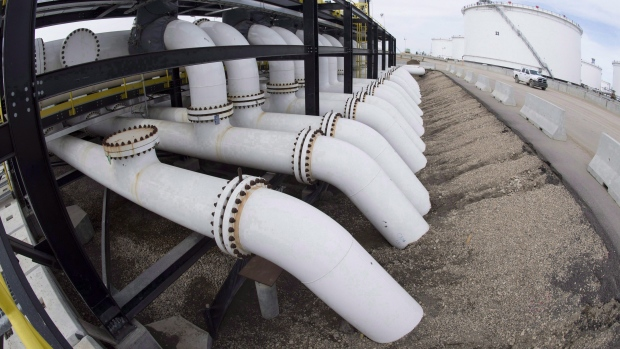 Pipes are seen at the Kinder Morgan Trans Mountain facility in Edmonton, Alta.