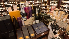 High-end wine and sparkling wine is on display at a B.C. liquor store in Vancouver