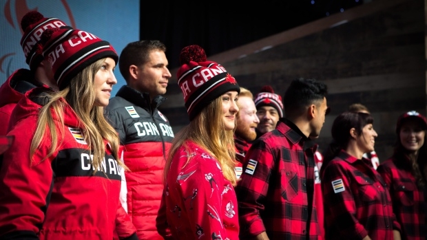 Olympic hopefuls for 2018 show off Hudson Bay Company's new line of Olympic gear at the Eaton Centre