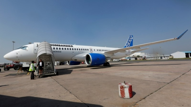 FILE PHOTO: Bombardier's C-series aircraft is pictured at an airport during its static demo event in New Delhi