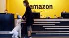 Amazon office in Seattle employee feeds her dog