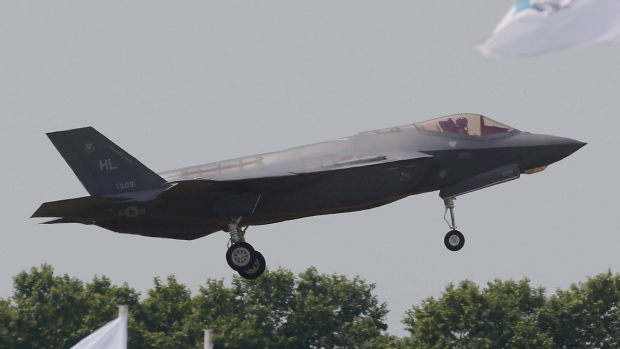 The US Lockheed Martin F-35 Lightning II performs his demonstration flight at Paris Air Show