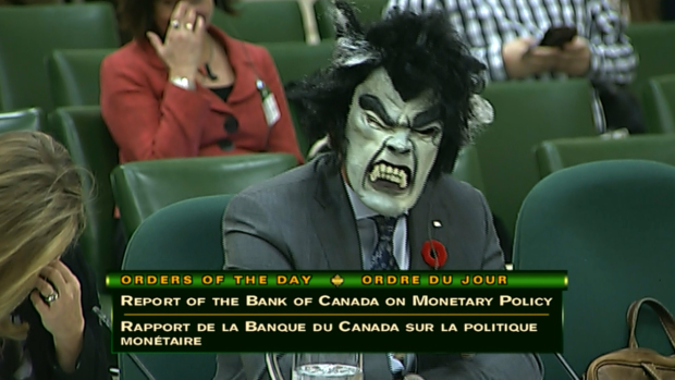 Stephen Poloz in Halloween mask