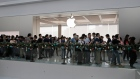 Customers line up to buy the new iPhone X