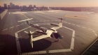 This computer generated image shows a flying taxi by Uber