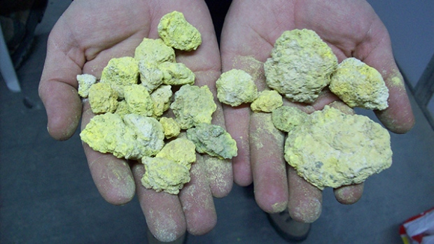 Carnotite, a radioactive, bright-yellow and earthy vanadium mineral that is an important source of u