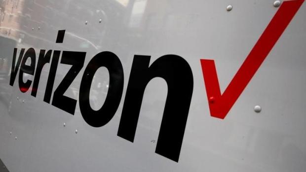 Verizon logo on a truck in New York City Oct 13 2017