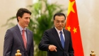 Canadian Prime Minister Justin Trudeau and Chinese Premier Li Keqiang