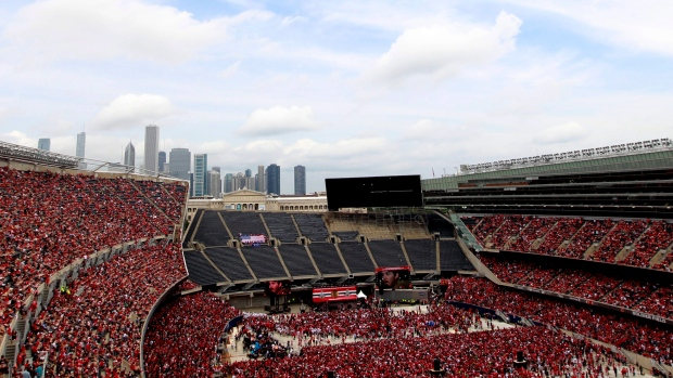 Chicago Blackhawks fans fill Soldier Field during a rally celebrating the Stanley Cup