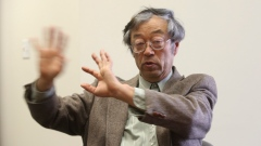 Dorian S. Nakamoto gestures during an interview on Thursday, March 6, 2014 in Los Angeles.