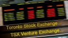 A sign board displaying Toronto Stock Exchange (TSX) stock information is seen in Toronto