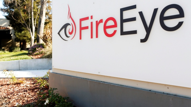The FireEye logo is seen outside the company's offices in Milpitas, California, Dec. 29, 2014