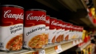 Cans of Campbell's Soup are displayed in a supermarket in New York City, February 15, 2017
