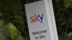 The Sky logo is seen outside of an entrance to offices and studios in west London, Britain June 29,