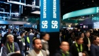 A sign advertises 5G devices at the Intel booth during CES International, Tuesday, Jan. 9, 2018, in