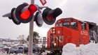 A CN locomotive moves in the railway yard in Dartmouth, N.S. on Monday, Feb. 23, 2015.