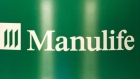 The Manulife Financial Corporation logo appears at the company's Annual General Meeting in Toronto M
