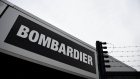A Bombardier logo is seen at the Bombardier plant in Belfast